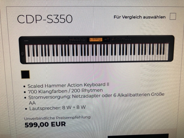 Digitalpiano Casio CDP -S 350